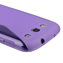 Purple S Shape TPU Rubber Skin Case for Samsung Galaxy S III i9300 - Thumbnail 2