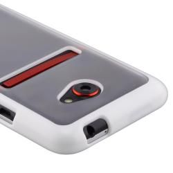 INSTEN Clear with White Trim TPU Rubber Skin Phone Case Cover for HTC EVO 4G LTE - Thumbnail 2