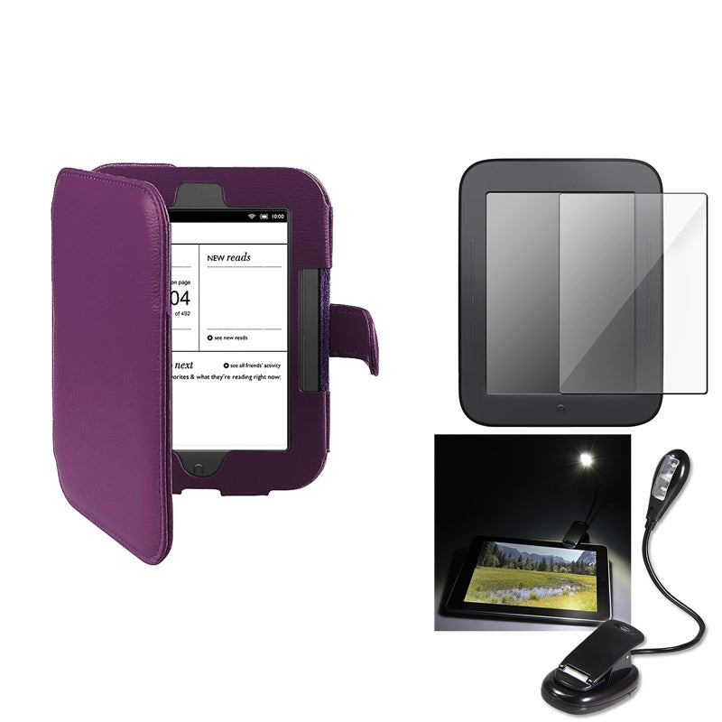 INSTEN Purple Phone Case Cover/ Screen Protector/ LED Light for Barnes & Noble Nook 2 with Magnet Closure