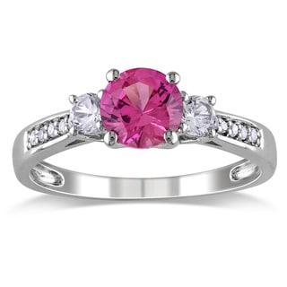 Miadora 10k White Gold Gemstone and Diamond Three-Stone Ring (H-I, I2-I3)