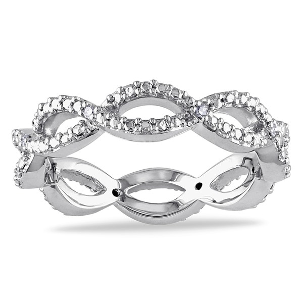 Miadora 10k White Gold Diamond Accent Braided Eternity Ring (G-H, I1-I2)