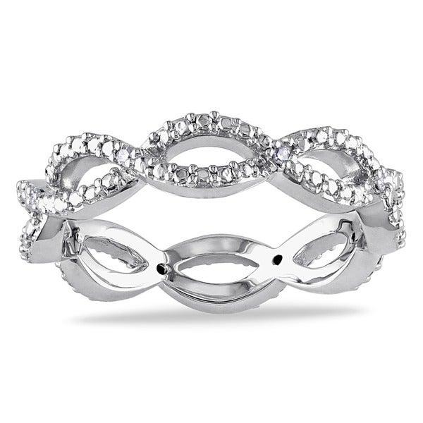 Miadora 10k White Gold Diamond Accent Braided Eternity Ring
