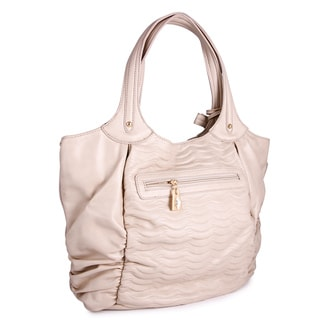 Miadora 'Natasha' Beige Faux Leather Tote Bag