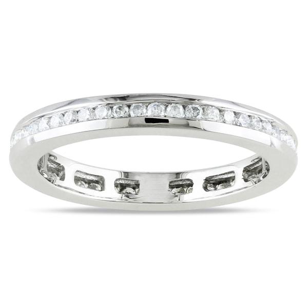 Miadora 14k White Gold Channel-set Diamond Wedding Band (G-H, I1-I2)