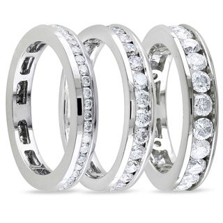 Miadora 14k White Gold Channel-set Diamond Wedding Band (G-H, I1-I2)