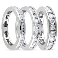 Miadora 14k White Gold Channel-set Diamond Wedding Band