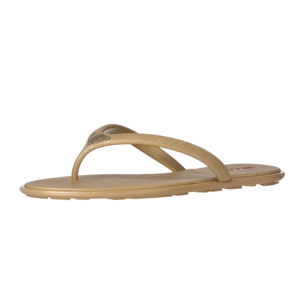 7a3346efa544 Shop Prada Gold Saffiano Rubber Thong Sandals - Ships To Canada ...