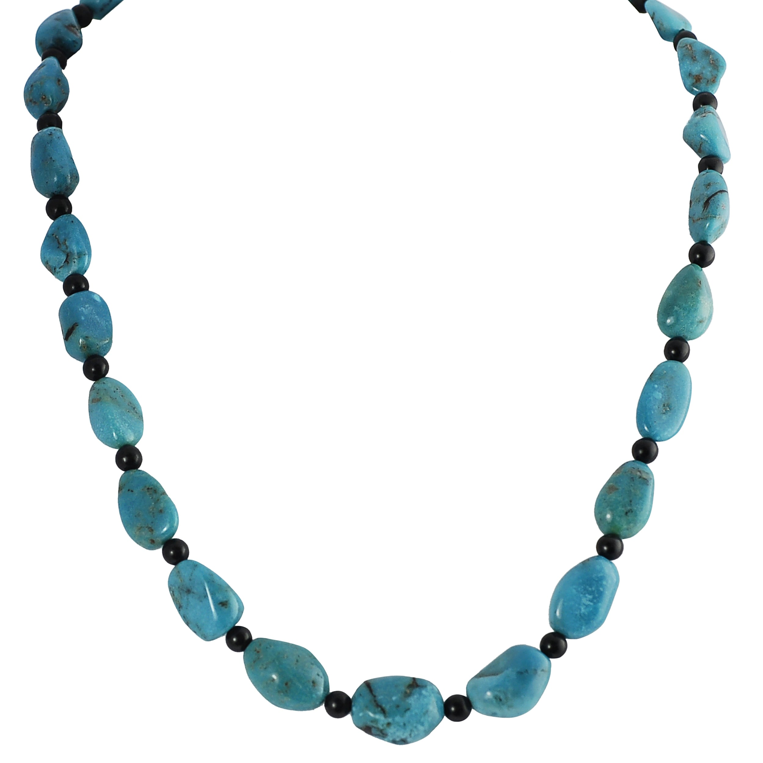 Journee Collection Sterling Silver Genuine Turquoise and Onyx Necklace