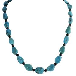 Journee Collection Sterling Silver Genuine Turquoise and Onyx Necklace|https://ak1.ostkcdn.com/images/products/6842337/80/211/Tressa-Sterling-Silver-Genuine-Turquoise-and-Onyx-Necklace-P14369064.jpg?impolicy=medium