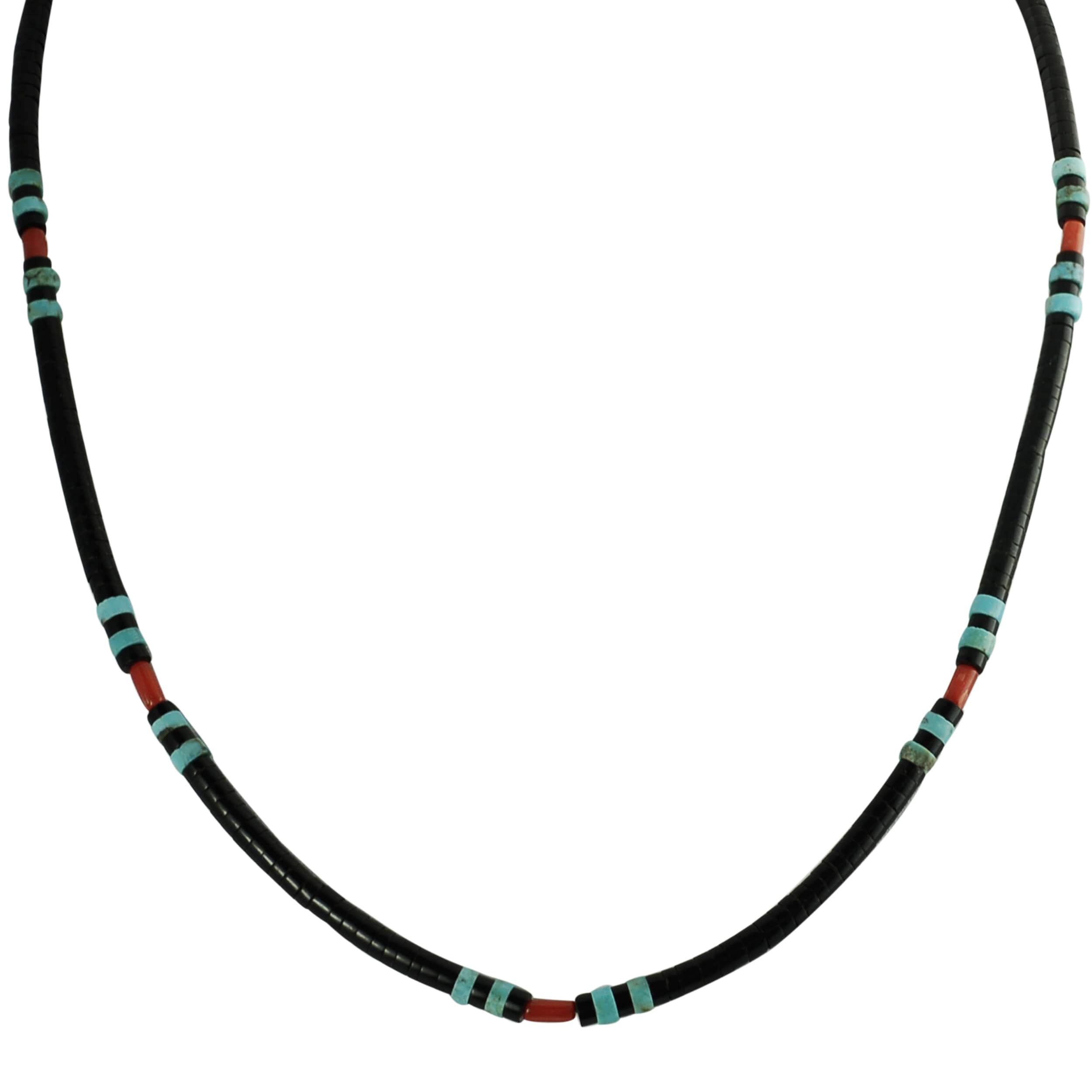 Journee Sterling Silver Genuine Turquoise Coral Onyx Necklace