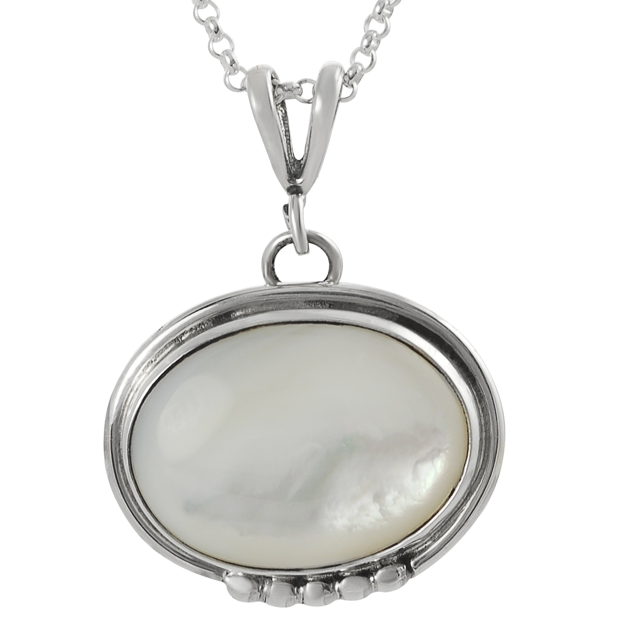 Journee Sterling Silver and White Genuine Moonstone Pendant Necklace