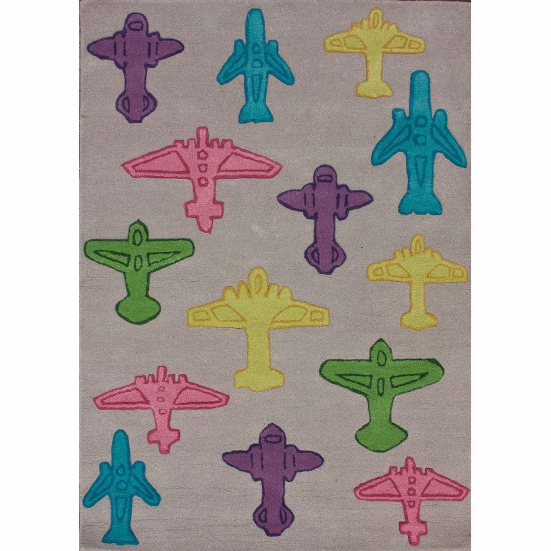 nuLOOM Handmade Kids Airplanes Grey Wool Rug (5' x 7')