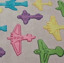 nuLOOM Handmade Kids Airplanes Grey Wool Rug (5' x 7') - Thumbnail 2
