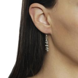 Journee Collection  Sterling Silver Brushed Finish Dangle Earrings