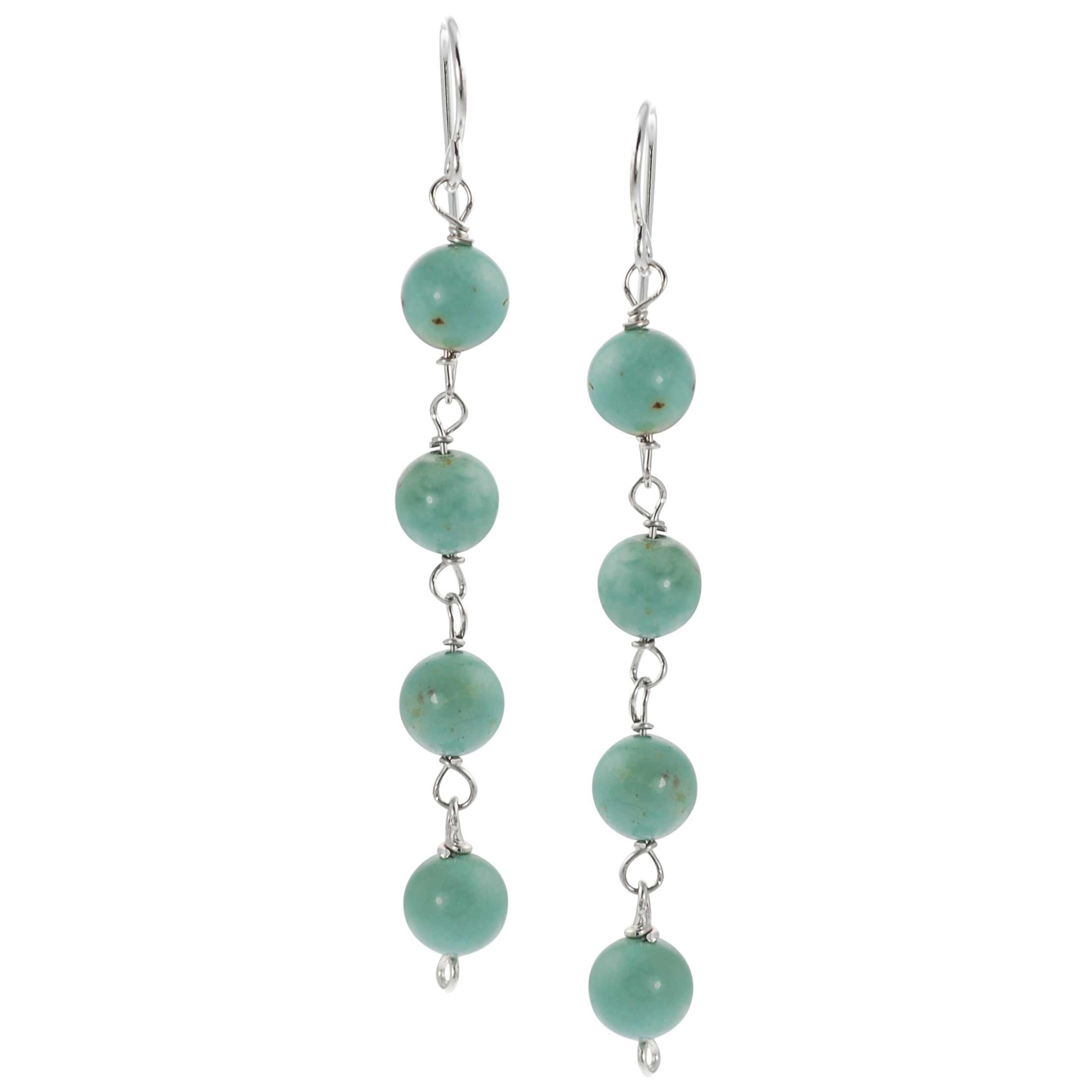 Journee Collection Sterling Silver Genuine Turquoise Dangle Earrings