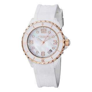 Stuhrling Original Women's Atlantis Quartz Ceramic Watch with White Rubber Strap