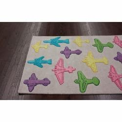 nuLOOM Handmade Kids Airplanes Grey Wool Rug (3'6 x 5'6) - Thumbnail 1