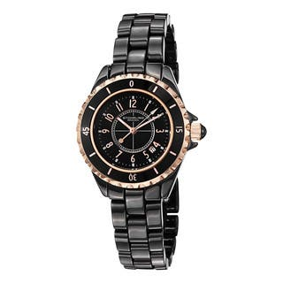 Stuhrling Original Women's Glamor Black Ceramic Bracelet Watch|https://ak1.ostkcdn.com/images/products/6842429/P14369123.jpg?impolicy=medium