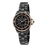 Stuhrling Original Women's Glamor Black Ceramic Bracelet Watch