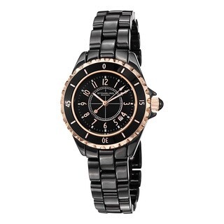 Stuhrling Original Women's Glamor Black Ceramic Bracelet Watch