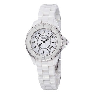 Stuhrling Original Women's Glamor Ceramic White Watch with Stainless Steel Bracelet