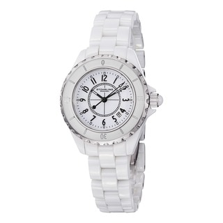 Stuhrling Original Women's Glamor Ceramic Watch with Stainless Steel Bracelet
