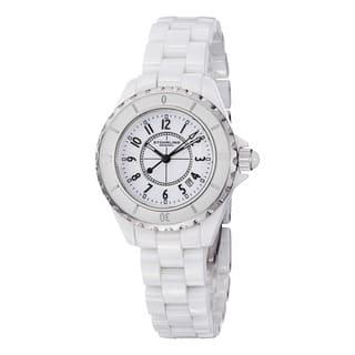 Stuhrling Original Women's Glamor Ceramic Watch with Stainless Steel Bracelet|https://ak1.ostkcdn.com/images/products/6842430/P14369124.jpg?impolicy=medium