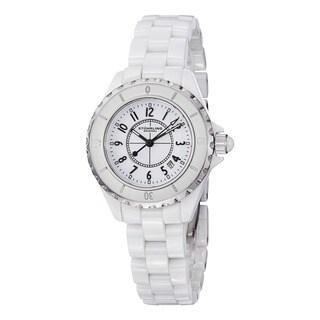 Stuhrling Original Women's Glamor Ceramic Watch with Stainless Steel Bracelet