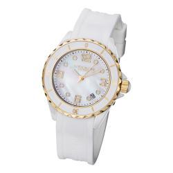 Stuhrling Original Classic Women's Ceramic Watch with White Silcion Rubber Strap