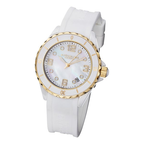 Stuhrling Original Classic Women's Ceramic Watch with White Silcion Rubber Strap