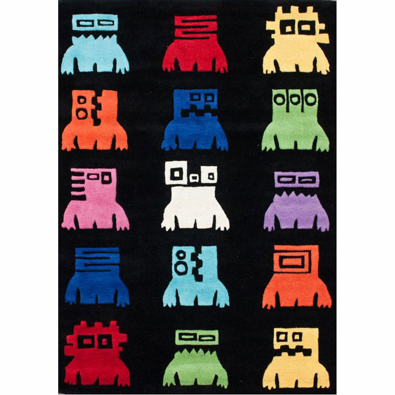 nuLOOM Handmade Kids Robots Black Wool Rug (3'6 x 5'6)