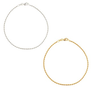 Mondevio Sterling Silver 9-inchTwisted Rope Chain Anklet (Option: Yellow)