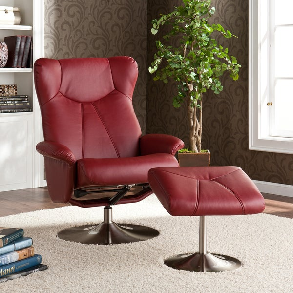 Harper Blvd Mcpherson Red Recliner/ Ottoman