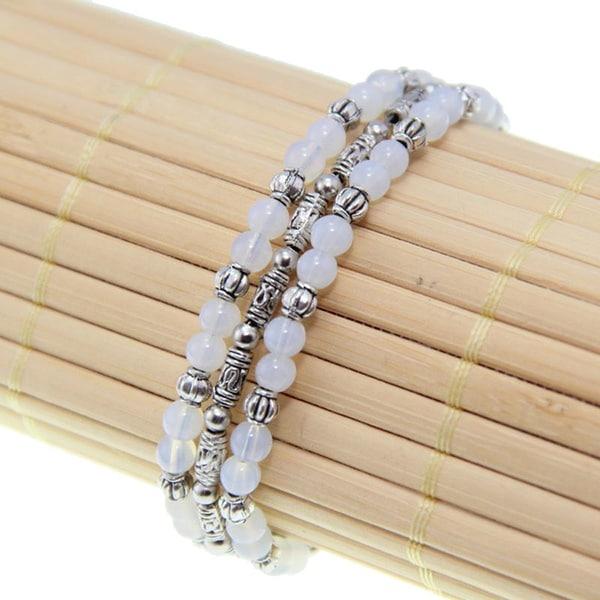 Tibetan Silver White Jade Three-String Bracelet (China)