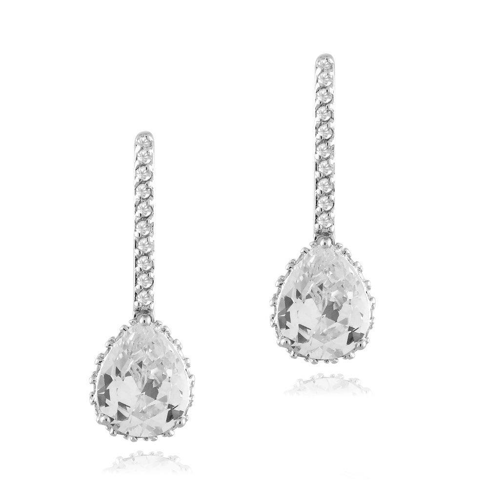 Icz Stonez Rhodium-plated Cubic Zirconia Teardrop Earrings (9ct TGW)