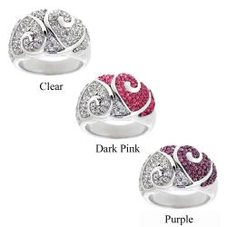 Icz Stonez Women's Sterling Silver Crystal Heart Fashion Ring (3 options available)
