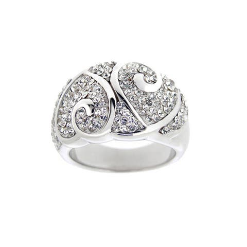 Icz Stonez Women's Sterling Silver Crystal Heart Fashion Ring