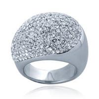 Icz Stonez Sterling Silver Clear Crystal Dome Ring