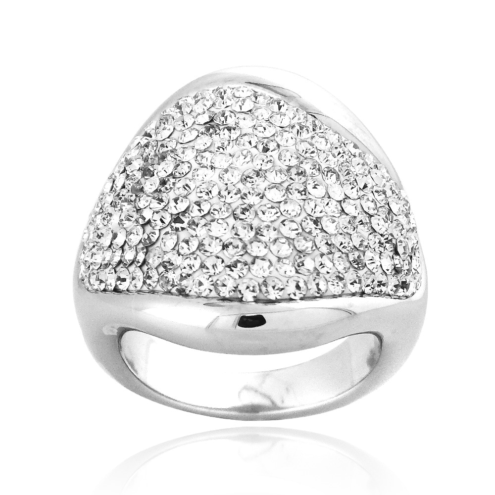 Icz Stonez Sterling Silver Clear Crystal Highly Polished Wave Ring