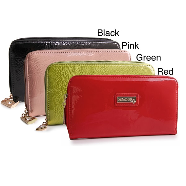 Miadora Metro Patent Zip-Around Wallet