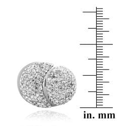 Icz Stonez Sterling Silver Clear Crystal Scalloped Ball Ring - Thumbnail 2