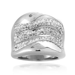 Icz Stonez Sterling Silver Clear Crystal Wave Fashion Ring