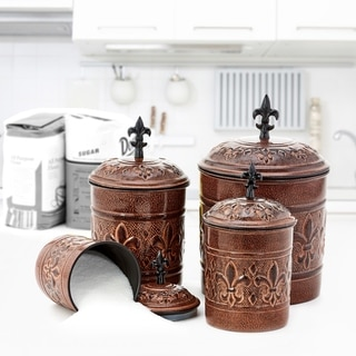 Link to Old Dutch Versailles Antique Copper Canisters (Set of 4) Similar Items in Kitchen Storage