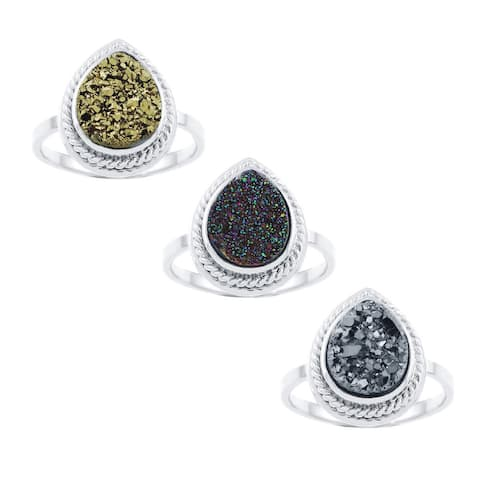 Glitzy Rocks Sterling Silver and Druzy Pear-shape Cocktail Ring