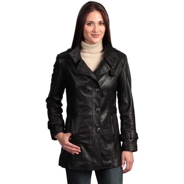 Women's Collezione Italia Leather Trench Coat