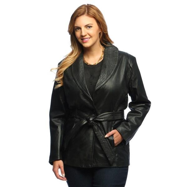 Collezione Italia Women's Plus Size Leather Wrap Coat