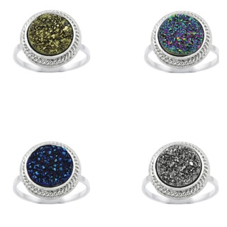 Glitzy Rocks Sterling Silver and Druzy Round Cocktail Ring