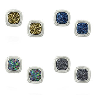 Glitzy Rocks Sterling Silver and Druzy Square Stud Earrings