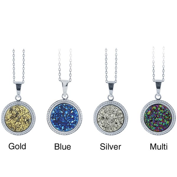 Glitzy Rocks Sterling Silver and Druzy Round Necklace