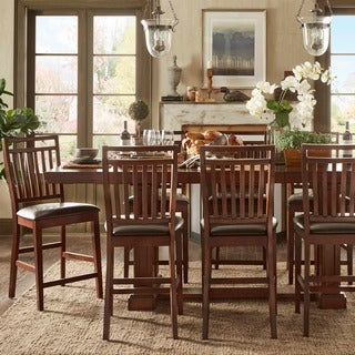 TRIBECCA HOME Harper Warm Cherry Wine Testing Extending Counter Height Dining Set
